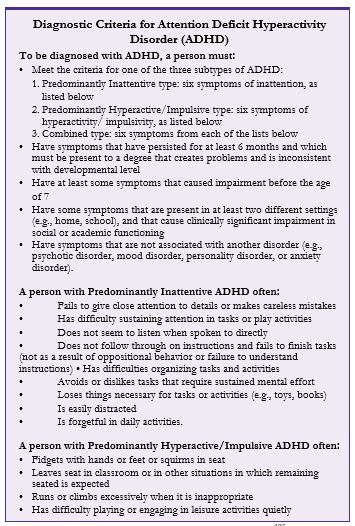 diagnostic criteria for ADHD