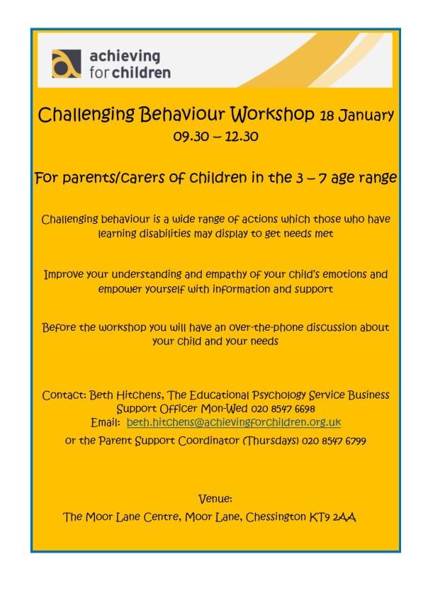 Challening Behaviour workshop