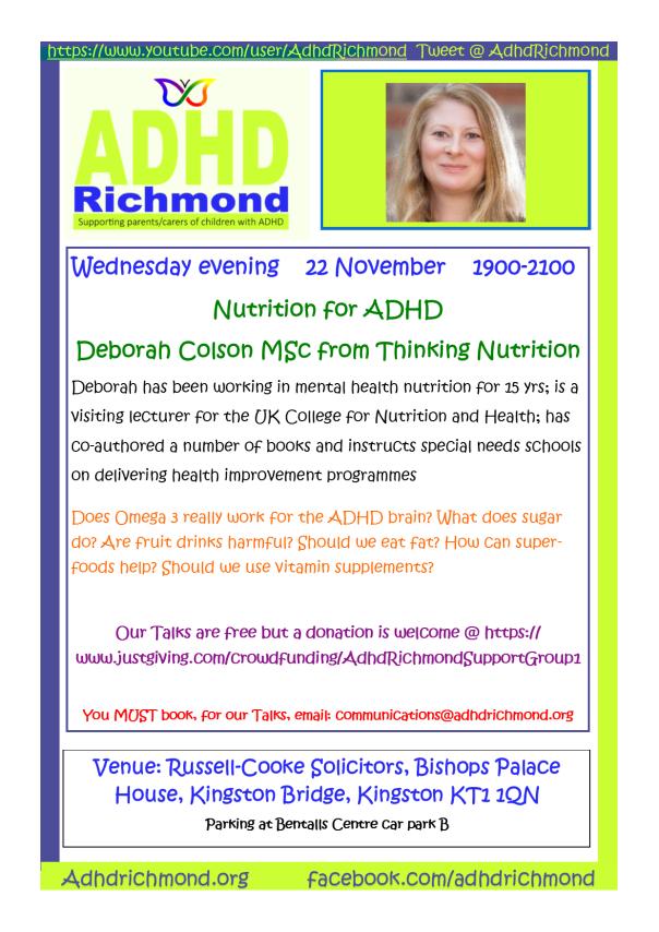 Nov 22 evening talk - Deborah Colson