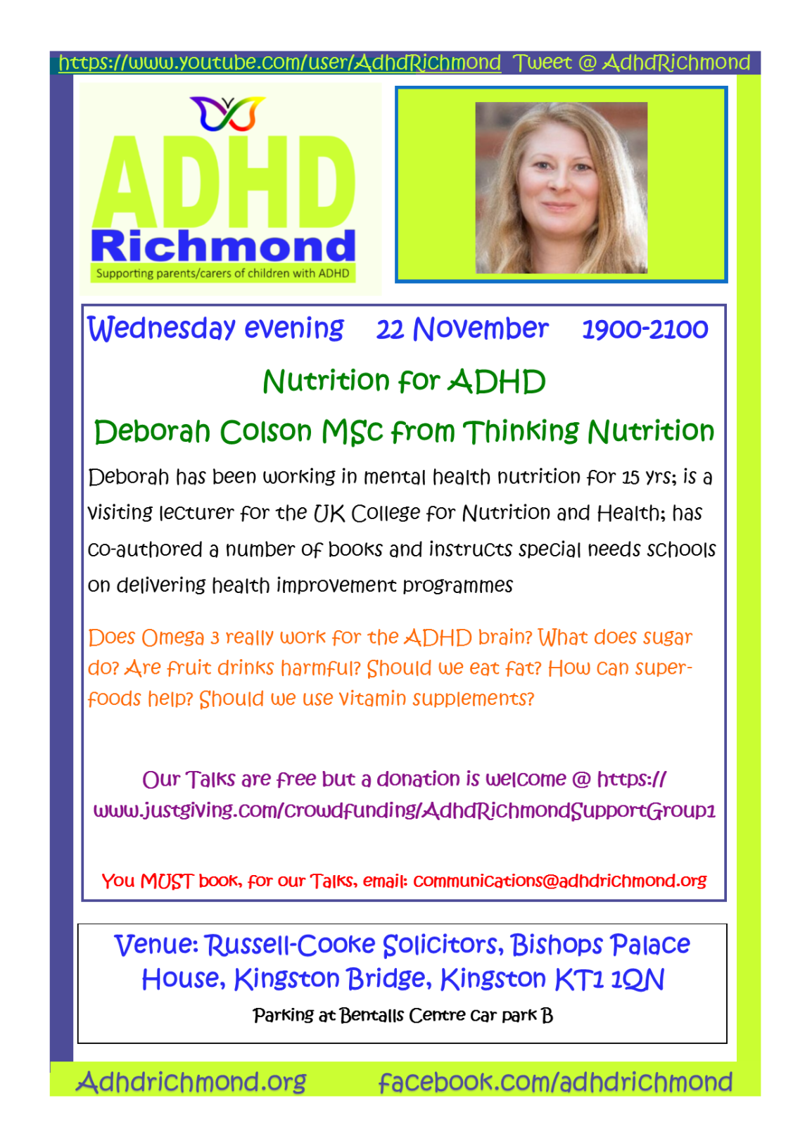 Nov 22 evening talk - Deborah Colson