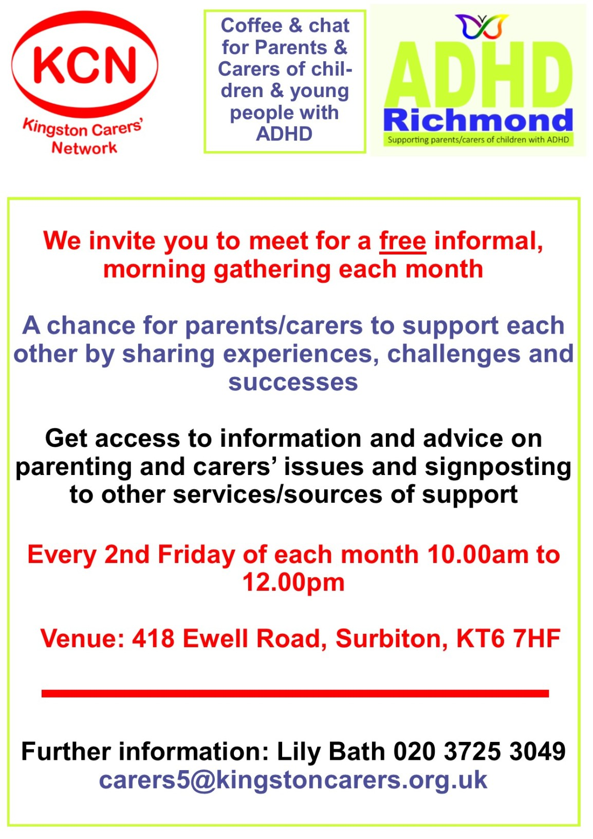 Need some #ADHD support today (Fri 8th)? Come for coffee & chat 10-12 with @KingstonCarers