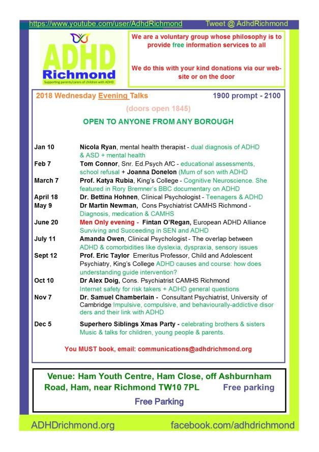 Talks calendar - evening 2018