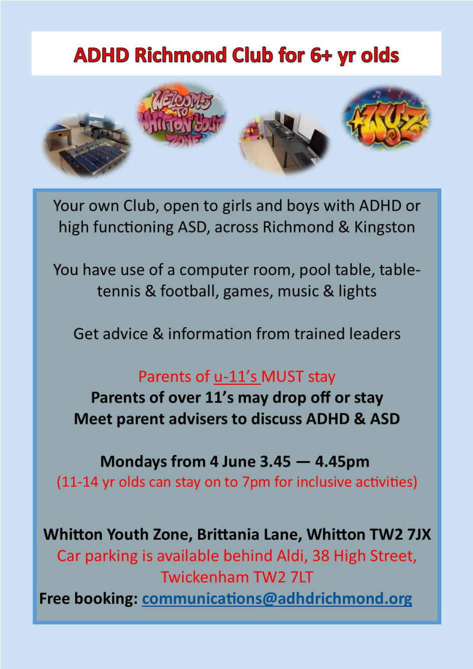 Book for 11 June #ADHD Club for 6+ yr olds @LBRUT #Whitton e: communications@adhdrichmond.org