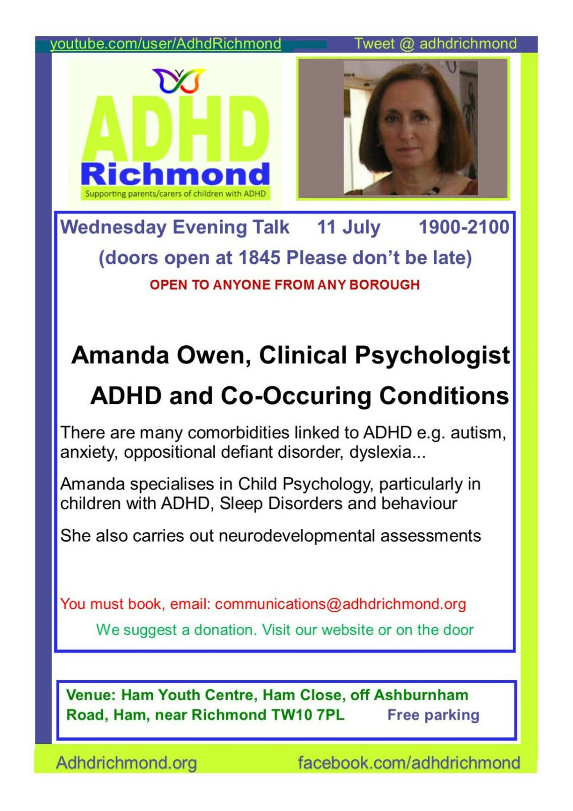 11 July free Talk on #ADHD &Co-Occuring Conditions. Open to any #parent #carer or #practitioner Listed @EventBrite Book:  communications@adhdrichmond.org                          https://www.eventbrite.co.uk/e/adhd-richmond-free-evening-talk-adhd-co-occuring-conditions-tickets-47885985271