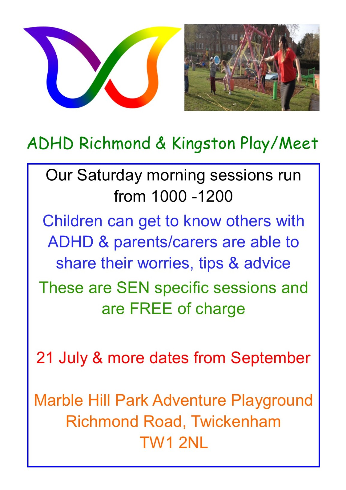 Sat. 21 July #ADHD #RichmondUponThames & #KingstonUponThames free Play/Meet-Up  @MHPC_AP_OOC_TL Any #parent #carer & children welcome
