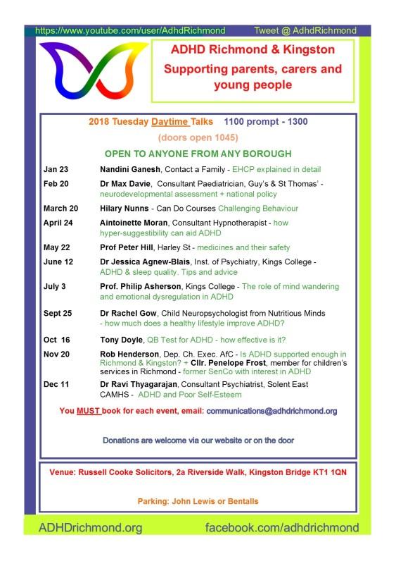 Talks calendar- daytime 2018